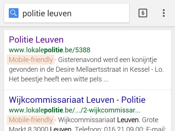 Mobile-friendly label in search results